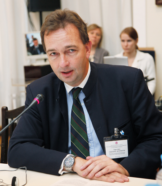 Karl von Habsburg-Lothringen, President of the Association of National Committees of the Blue Shield is addressing the round table