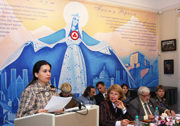 Marga Koutsarova, Chairman of the National Roerich Society (Bulgaria), is delivering her speech
