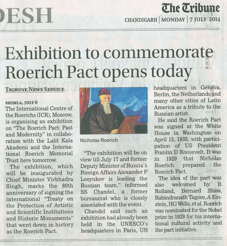 "The Tribune Chandigarh India Latest News India: Inauguration Of Exhibition ""Roerich Pact. History And"