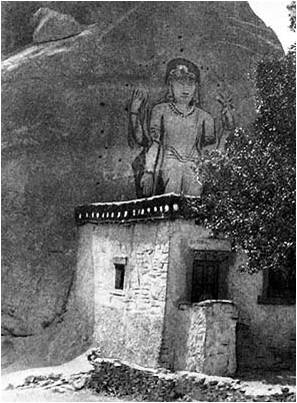 Скала Майтрейи в Маульбеке. Ладакх, 1925. Фото семьи Рерихов