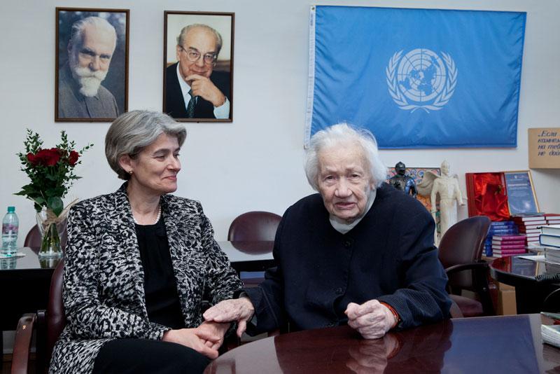 Генеральный директор ЮНЕСКО Ирина Бокова и Генеральный директор Музея имени Н.К. Рериха Людмила Васильевна Шапошникова