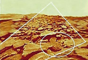 Фото 12. Изображение объекта «странный камень» (в овале) при исправлении геометрии